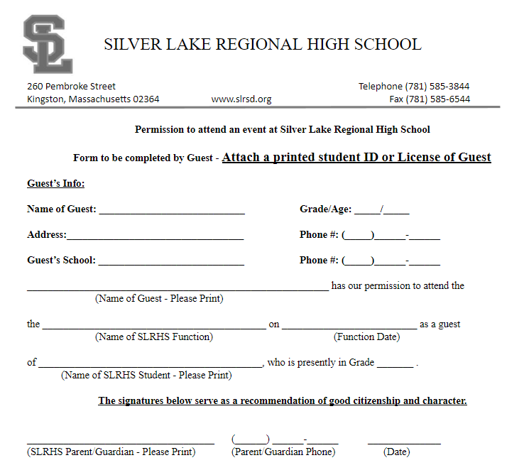School Guest (Dance) Use Form