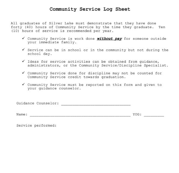 Community Service Form